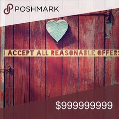 Make me an offer Make me an offer.  I love offers especially when they are reasonable.  Remember the deal of the day has already been dropped 3 to 8 dollars so I may not accept offers on those.  ❤️.  Happy Poshing. Other