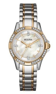 50f41bfbd478 Bulova Women s 98L203 Crystal Markers and Bezel Quartz Two Tone Dress Watch.  Stainless Steel ...