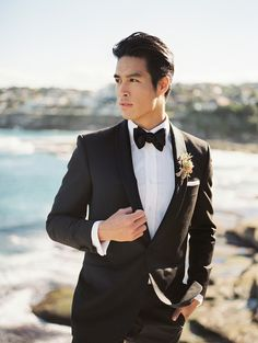 Tux from Crane Brothers | Romantic Pink and Gold Seaside Inspiration From Whitney Heard Photography