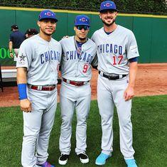 Bryant, Baez, Congress at the All-Star game Chicago Cubs Baseball, Chicago Blackhawks, Baseball Central, Baseball Boys, Cubs Players, Baseball Players, Chicago Cubs History, Cubs Win, Go Cubs Go