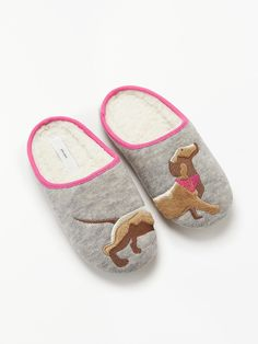 4e246b6f59 BuyJohn Lewis & Partners Sausage Dog Knit Mule Slippers, Grey, 3-4 Online