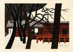 "Saito, Kiyoshi (1907-1997), ""Winter in Nikko (Jyogyodo)"" woodblock print"