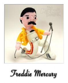 Freddie - free crochet Freddy Mercury pattern by Moji-Moji Design. Amigurumi Free, Crochet Patterns Amigurumi, Amigurumi Doll, Crochet Dolls, Crochet Bear, Cute Crochet, Crochet Music, Easy Crochet Projects, Freddie Mercury