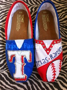 Blinged Out Texas Rangers Toms by shejo0389 on Etsy. $110.00, via Etsy. I want these... My baseball team!