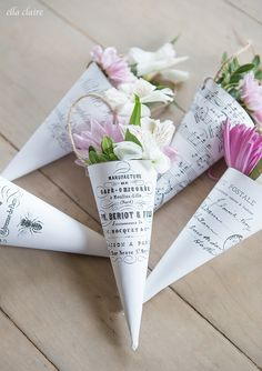 Free Flower Cone printables with French graphics