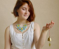 Crochet necklace silk rings with delicate creamy by InvisibleJoin