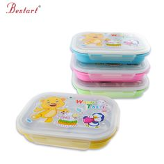 304 Stainless Steel Korea kids Cartoon LunchBox 2 Layers cute Bear Thermal Insulation Food box for children ,student