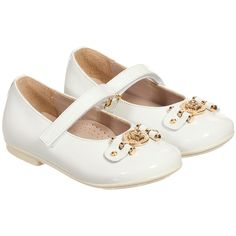 Young Versace - Girls White Patent Leather & Gold Medusa Shoes | Childrensalon
