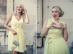 Smiling bridesmaids in pale yellow dresses. Photography by www.dottiephotography.co.uk