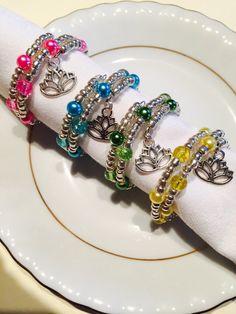 Beaded napkin rings beaded serviette by JGjewellerycreations Beaded Jewelry, Jewelry Bracelets, Jewelery, Beaded Napkin Rings, Jewelry Ideas, Unique Jewelry, Place Settings, Table Settings, Dining Rooms