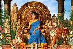 Artistic Women  India Tiger Saree Temple Jungle Tiger Queen Fantasy Woman Girl Princess Egyptian Throne Wallpaper