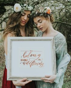 Floral Crowns by Gather Westcoast and Brush & Bloom, featuring calligraphy by Cable Car Calligraphy Bloom And Wild, Floral Crowns, Wild And Free, Wildflowers, Hand Lettering, Cable, Presents, Calligraphy, Letters