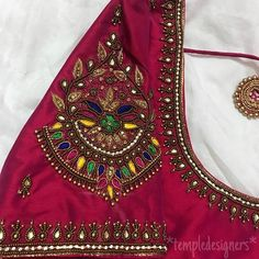 Mirror work for a change 😍 Swipe ⬅️… Simple Blouse Designs, Bridal Blouse Designs, Blouse Neck Designs, Simple Designs, Kerala Saree Blouse Designs, Half Saree Designs, Maggam Work Designs, Designer Blouse Patterns, Work Blouse