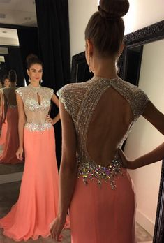 Prom Dress, Front Key Hole Open Back Cap