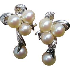 Radiant Bow Design Mikimoto Akoya Cultured Pearl Drop & Sterling Dangle Japanese Earrings