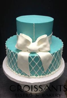 Tiffany Blue 2-Tier Cake with Bow