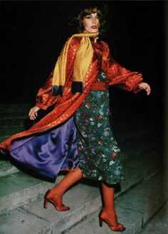 Ungaro - L'Officiel magazine 1976 vintage fashion color photo print ad models magazine designer 70s red blouse shirt green skirt yellow scarf bright colorful outfit