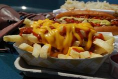 Dog with Chili Cheese Fries | Frites + chili + sauce fromage (du Cheez Whizz, probablement).