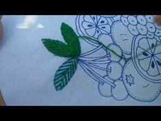 Bordado fantasia HOJA #10 de cerezo - YouTube