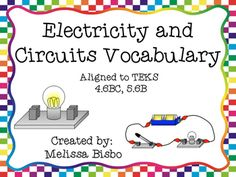 Science vocabulary mastery is an essential skill for students today! Included in this download are:1. Nine colorful electricity and circuits vocabulary posters with definitions and pictures that are perfect for classroom display. 2. Smaller versions of the posters that are perfect for use as flashcards.3.
