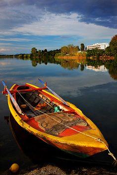 Colourful boat of Margarona lagoon in the Ambracian Gulf, Preveza