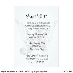 Angel Alphabet A Initial Latter Wings Halo 5x7 Paper Invitation Card