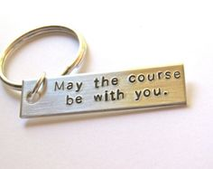 XC keyring, cross country keychain, hand stamped aluminum running keychain, gift for runner