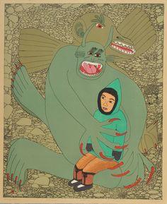 Shuvinai Ashoona, Scary Dream, 2006, lithograph, 69.2 x 56.5 cm, Dorset Fine Arts, Toronto. #ArtCanInstitute #CanadianArt Scary Dreams, Canadian Art, Detailed Drawings, Surrealism, Book Art, Toronto, Fine Art, Artist, Prints