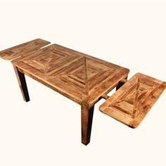 Cariboo Rustic Mango Hardwood Parquet Extendable Dining Table