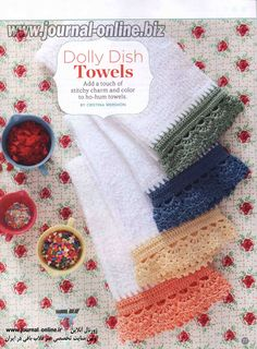 Dolly Dish Towels by Cristina Mershon Crochet Today Sept/Oct 2012 Crochet Edging Patterns, Crochet Edgings, Dish Towels, Tatting, Knitted Hats, Knit Crochet, Russia, Color, Cristina