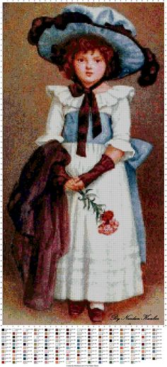 cross stitch *<3* Vintage Girl - who is holding flowers