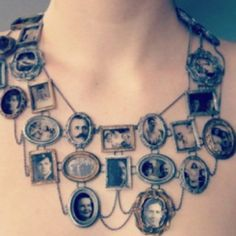 Wear your entire extended family around your neck with this portrait necklace.