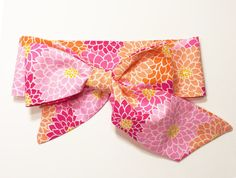 Fabric Bow Headwrap - Pink and Orange Mums - Infant Headband - Fabric Headband - Baby Headband - Toddler Headband - Pink and Orange Headband