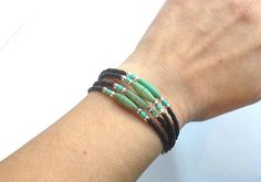 Seed Bead Wrap Bracelet Black Silver and Turquoise Color