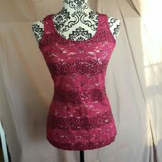 🛍SALE🛍Wet Seal Lace Sequin Tank Top Brand new with tags. Size Large. Stretchy, sheer lace with pink sequins. Racerback style. Price firm unless bundled. Wet Seal Tops Tank Tops