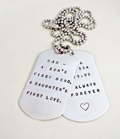 Personalized Pair of Dog Tags - 'Dad, A Son's First Hero, And A Daughter's First Love' Hand Stamped Daddy Couples Necklace - Mens Jewelry