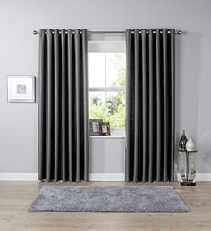 Thermal Blackout Eyelet Curtain Pair Ready Made Light Reducing Ring Top Curtains Energy Saving By Olivia Rocco (66 (Width) x 90 (Drop) Charcoal)