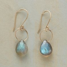 "TIP TOP EARRINGS -- In these dangling labradorite 14kt gold earrings, a delicate ring of 14kt gold is an airy contrast to earth-borne labradorite. French wires. Handmade in USA, designed by Kyoko Honda. 1-1/8""L."