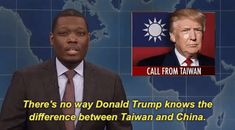 New party member! Tags: snl saturday night live weekend update snl 2016 season 42 michael che theres no way donald trump knows the difference between taiwan and china