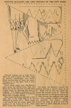 Home Sewing Tips from the 1920s - Pointed Scallops Are The Chic New Mode