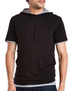 Vince Black Double Layer Pima Cotton Crew Hoodie  HoodieMen #Shirts