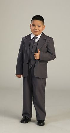 Boys 5 piece Suit 2 Button Style 4005- Choice of White, Black, Ivory, Brown, Charcoal or Navy  Cheaper than the rentals! You receive 5 pieces including: 2 button Jacket, Pants, Long sleeved white shirt, black button up vest, and cute black tie.  http://www.flowergirldressforless.com/mm5/merchant.mvc?Screen=PROD&Product_Code=TT_4005_13&Store_Code=Flower-Girl&Category_Code=Silver_Grays
