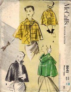Patron de couture Vintage McCall 9440 Cape Tie Collar Ladies Misses Womens . Motif Vintage, Vintage Dress Patterns, 50s Vintage, Vintage Dresses, Vintage Outfits, Vintage Fashion, Vintage Clothing, Retro Fashion, Vintage Style