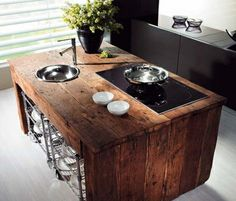 Rustic island in contemporary kitchen...Yup Yup!
