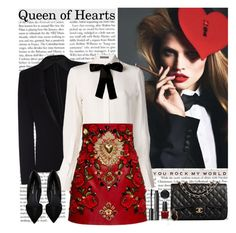 """""""queen of hearts"""" by helena99 ❤ liked on Polyvore featuring rag & bone, Alexander McQueen, Dolce&Gabbana, Kurt Geiger, Chanel, Witchery, OPI, MAKE UP FOR EVER, Stephen Webster and AlexanderMcQueen"""
