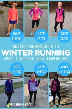 A runners guide: What to wear for every winter run. This is so helpful to know what the elites wear for every temperature from 50 degrees (10C) to below 20 (-7F) as well as how it changes when running hard or if there is wind.