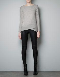 Metallic Rib Knit Sweater With Asymmetric Hem