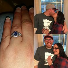 Congratulations to Tyler and Michelle on their recent engagement! We LOVE her new engagement ring! We helped Tyler customize one of our popular styles to hold a oval blue sapphire in the center!