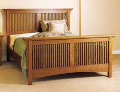 Arts & Crafts Bed, Mission Style Woodworking Plan, Furniture Beds & Bedroom Sets