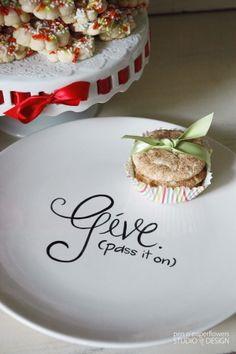 """If you judge the cookies for fun at your Cookie Exchange - this """"Give - Pass It On"""" plate by @Aedriel makes a beautiful and very appropriate gift for the winner. (a gift that keeps on giving)"""